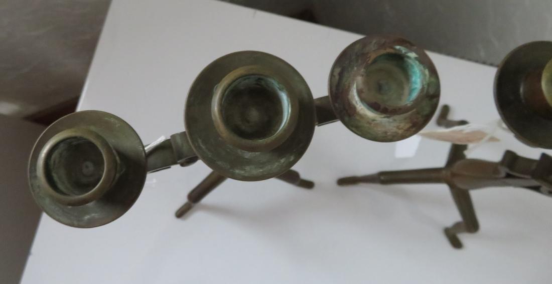 Pair of Bronze Art Nouveau Candlestick Holders - 7