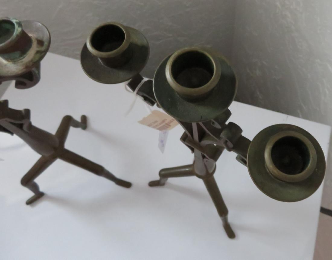 Pair of Bronze Art Nouveau Candlestick Holders - 8