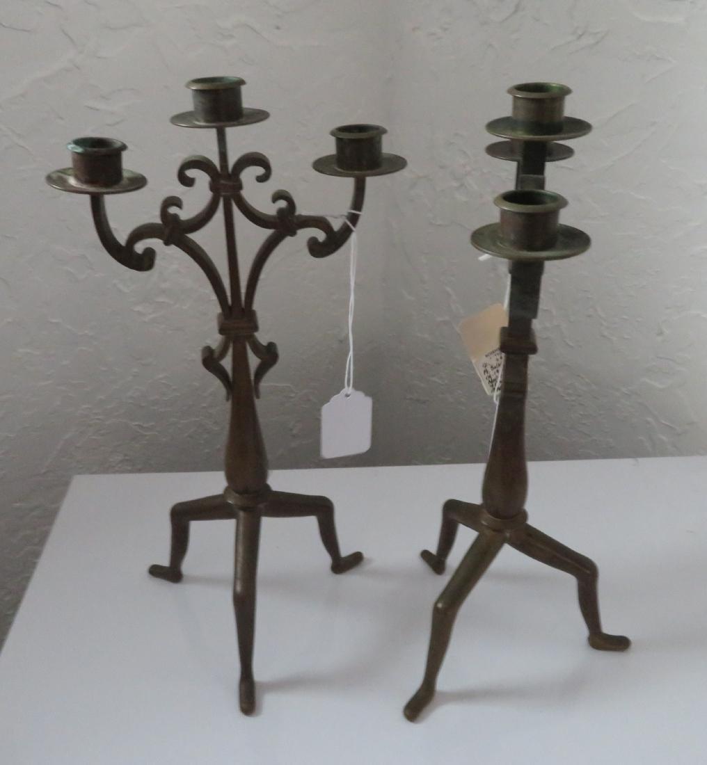 Pair of Bronze Art Nouveau Candlestick Holders - 9