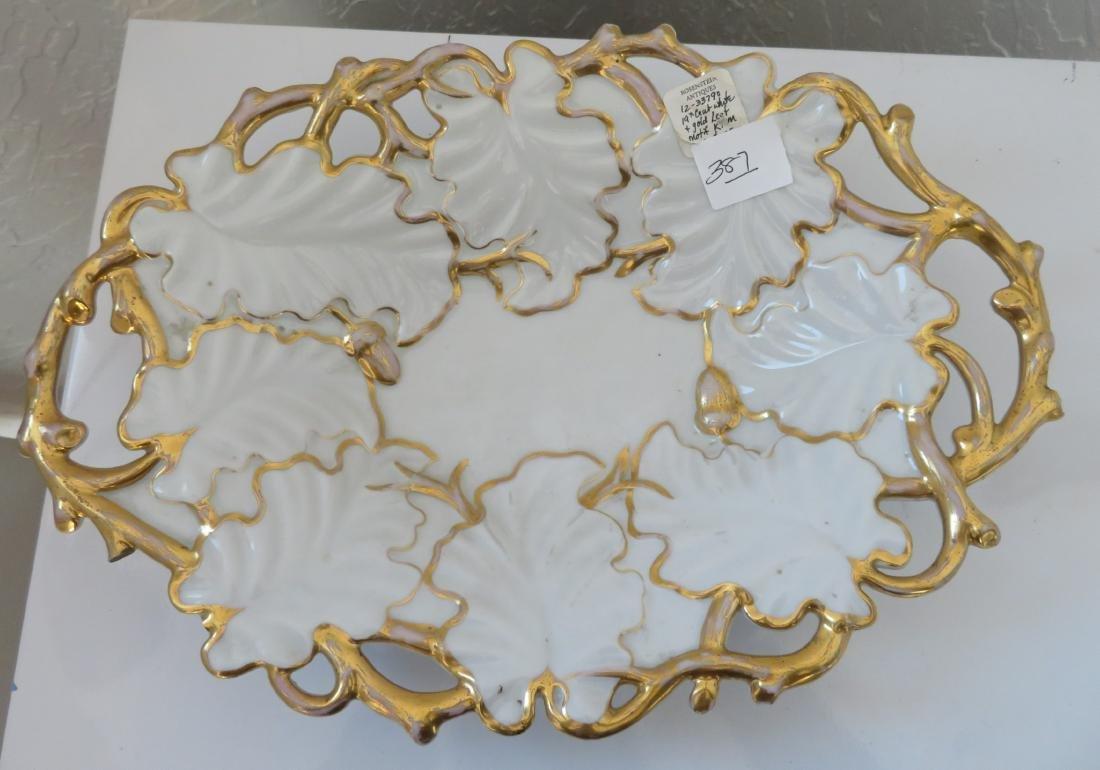 White & Gold Leaf Motif KPM Dish