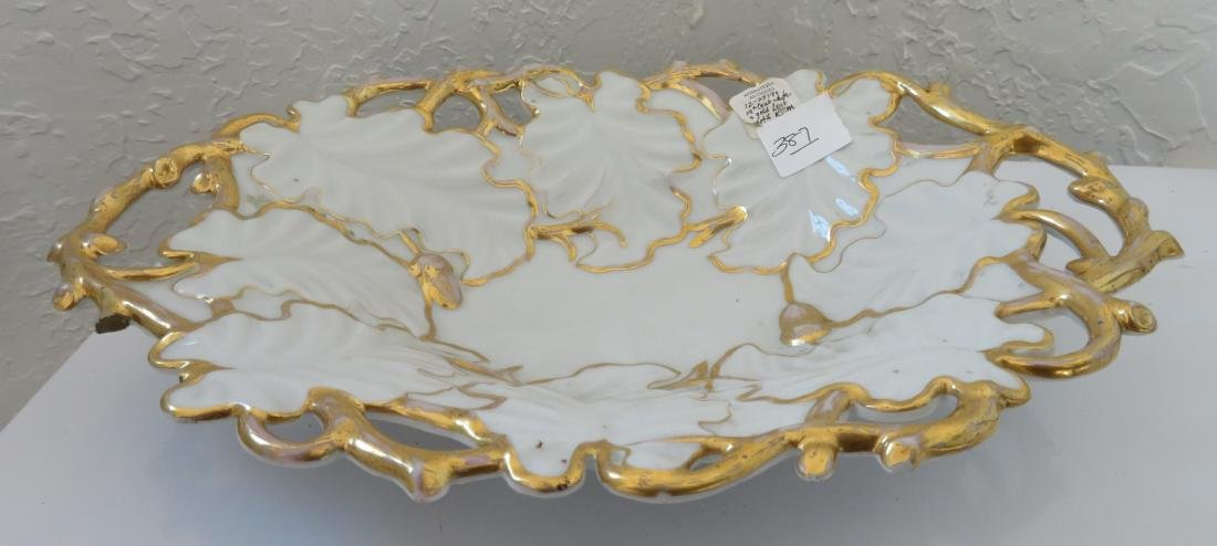 White & Gold Leaf Motif KPM Dish - 2