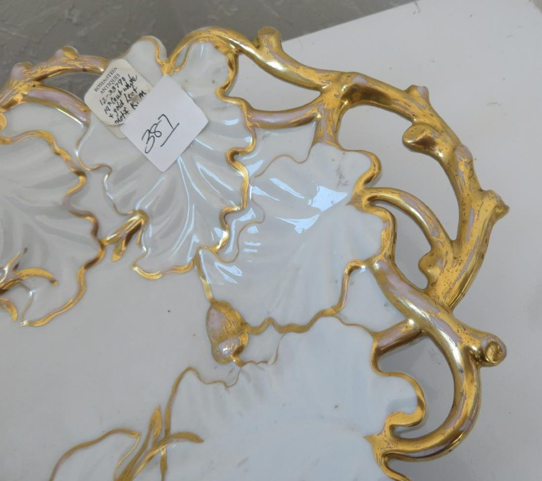 White & Gold Leaf Motif KPM Dish - 4