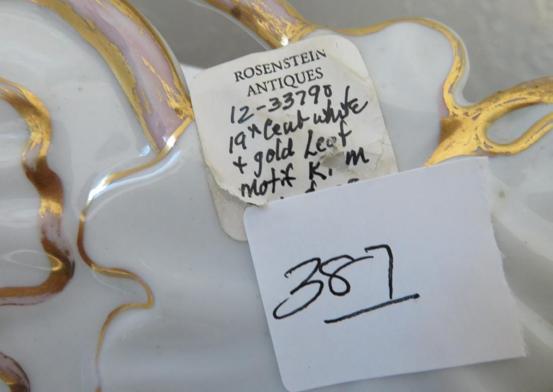 White & Gold Leaf Motif KPM Dish - 5
