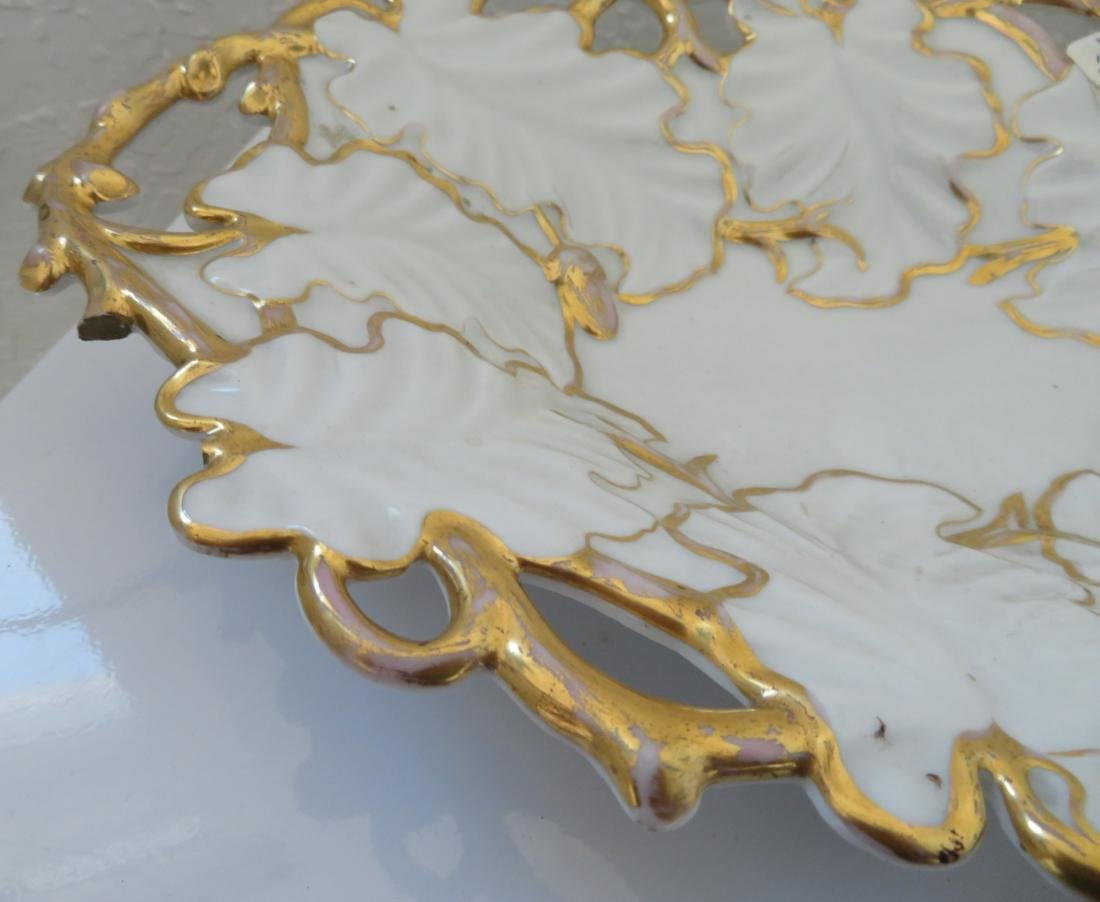 White & Gold Leaf Motif KPM Dish - 8