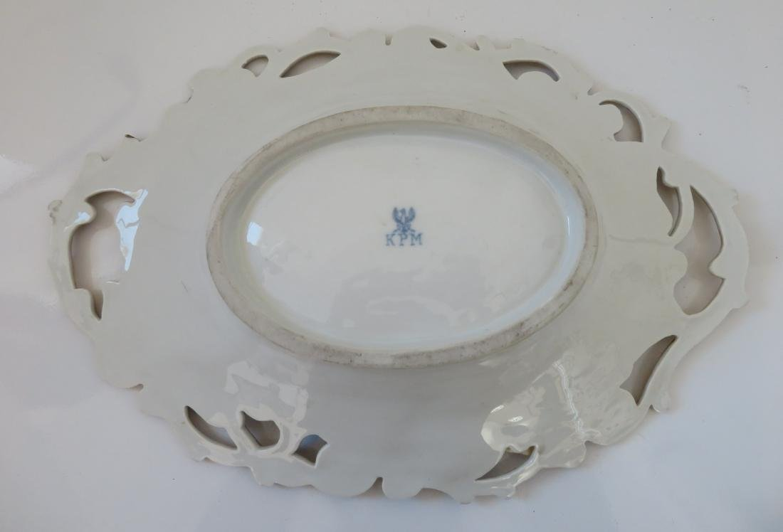 White & Gold Leaf Motif KPM Dish - 9