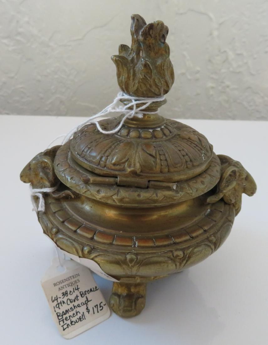 Bronze Ink Well w/Rams - 9