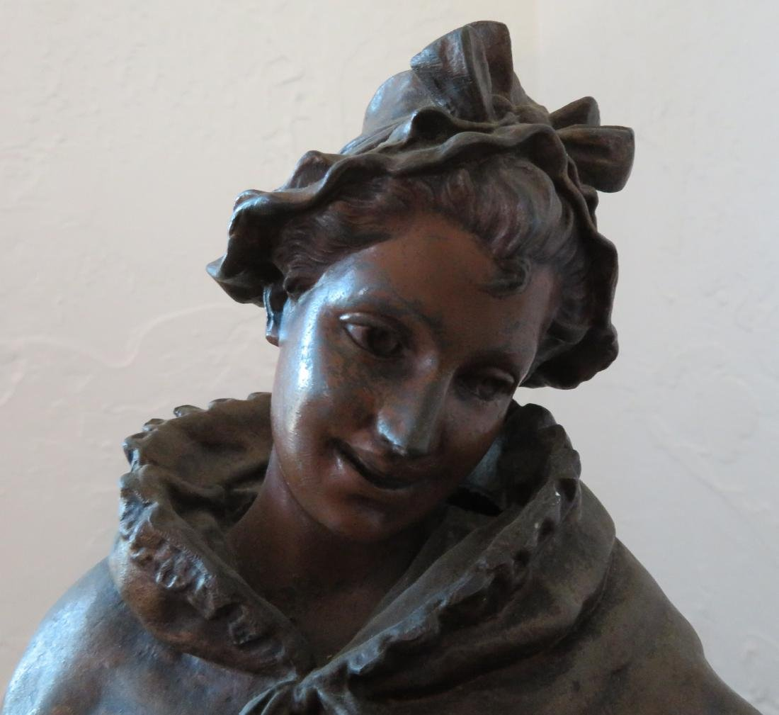 Victorian Lady Spelter w/Original Paint - 2