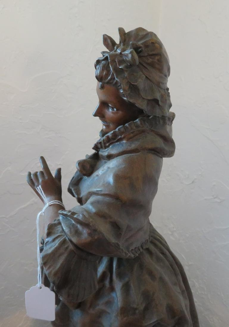 Victorian Lady Spelter w/Original Paint - 8