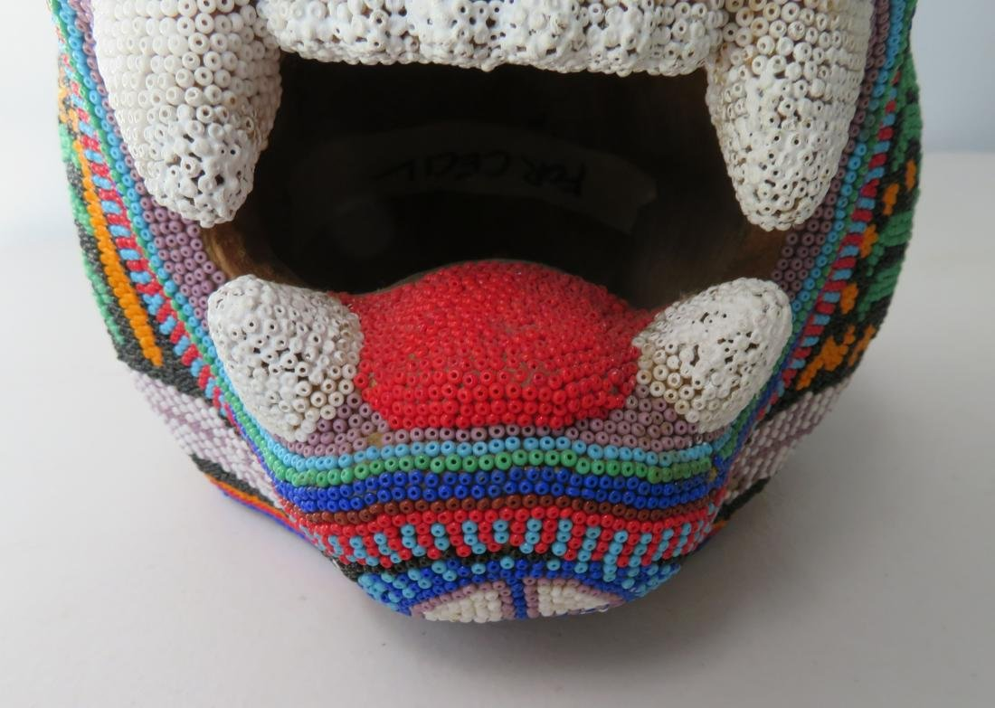 Huichol Beaded Jaguar Head - 3