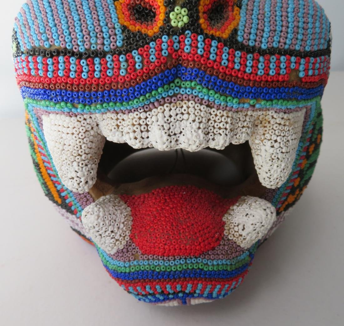 Huichol Beaded Jaguar Head - 4