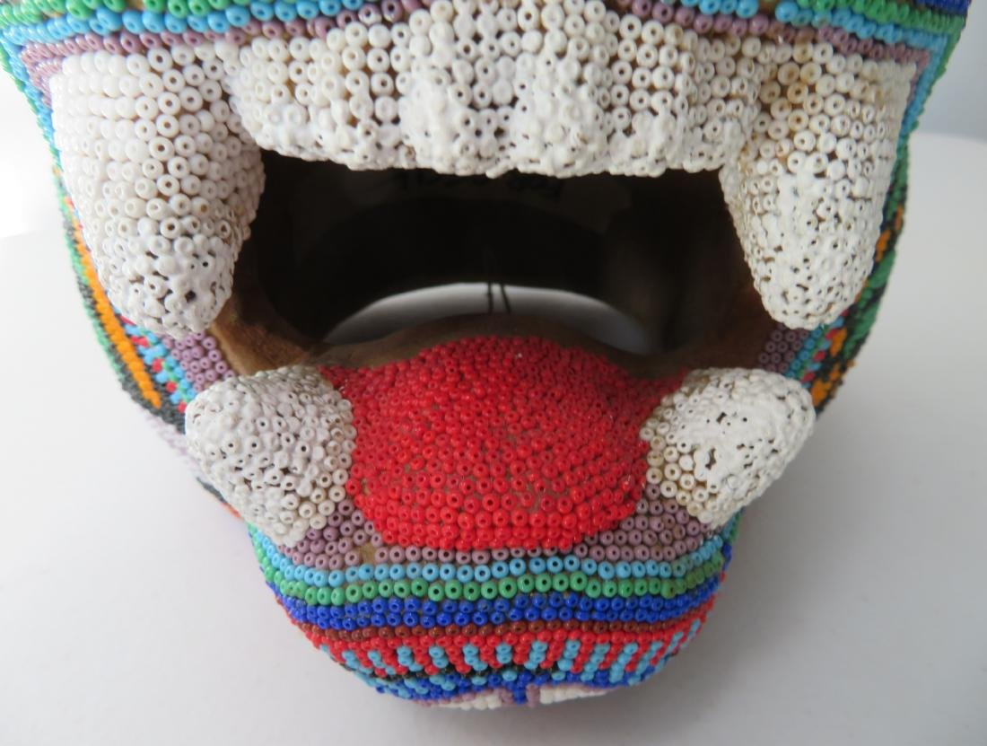 Huichol Beaded Jaguar Head - 5