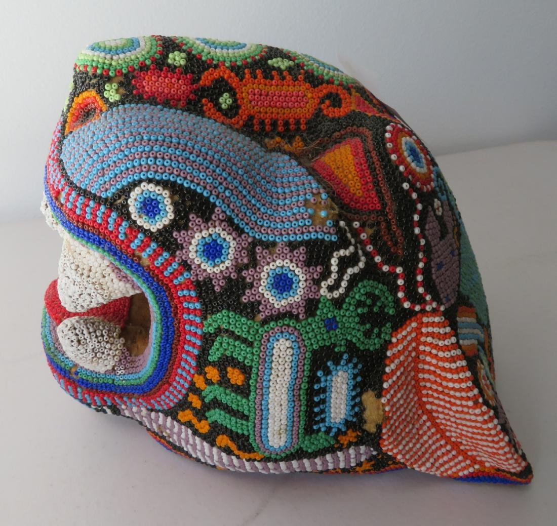 Huichol Beaded Jaguar Head - 7