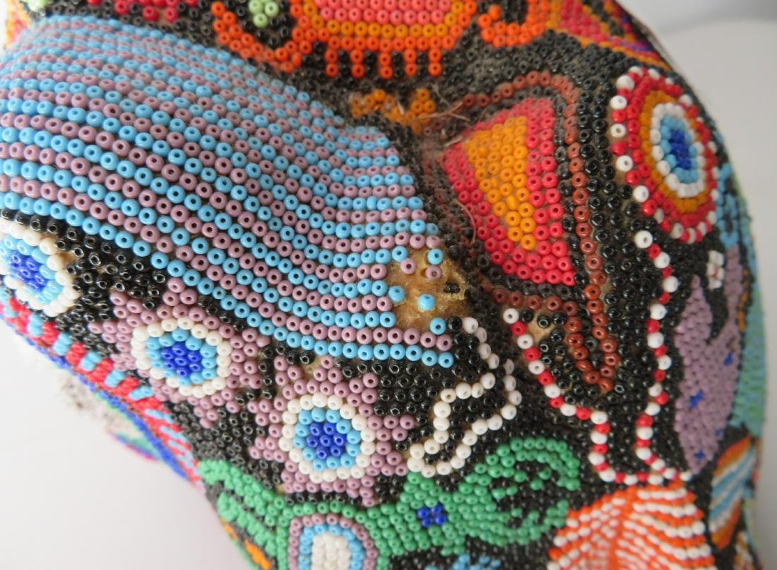 Huichol Beaded Jaguar Head - 8