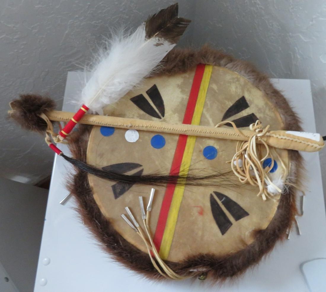 Plains Indian Drum w/Beater - 2
