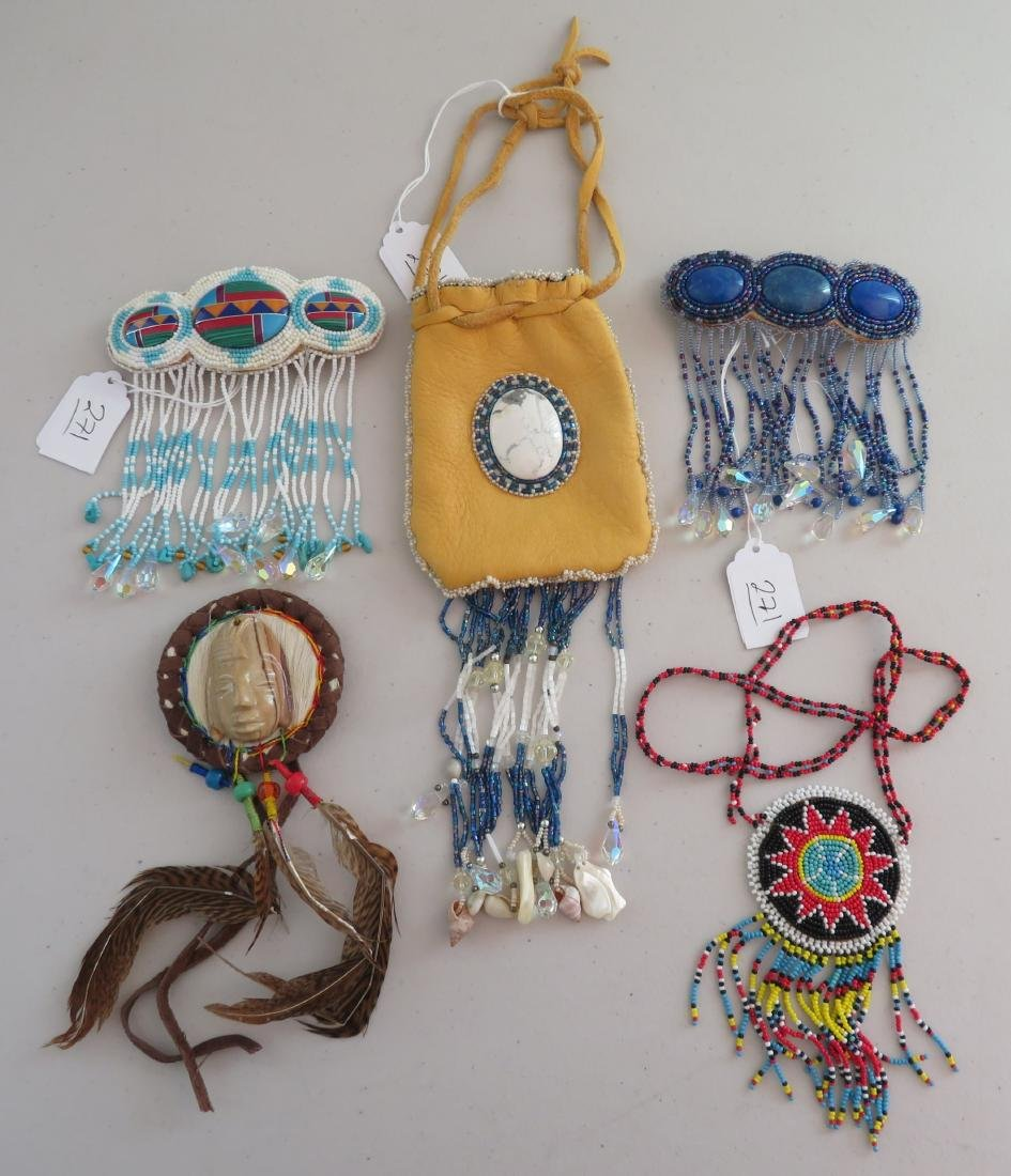 Beaded Leather Bag w/2 Hair Brooches