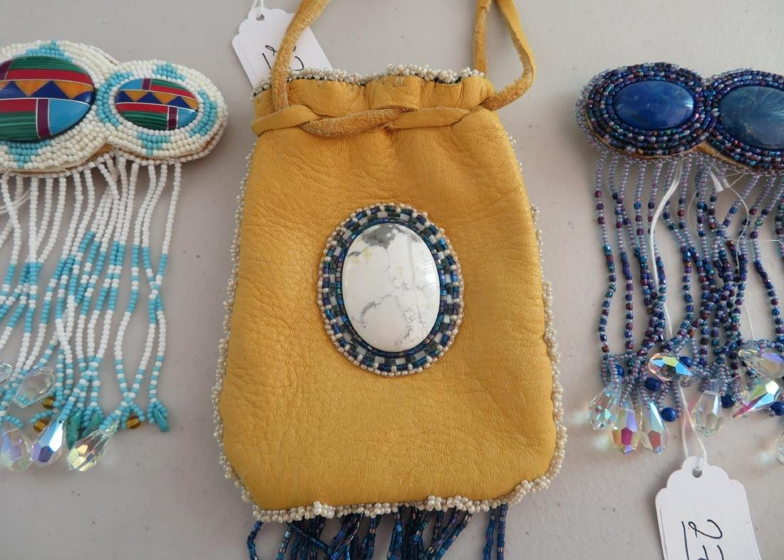 Beaded Leather Bag w/2 Hair Brooches - 3
