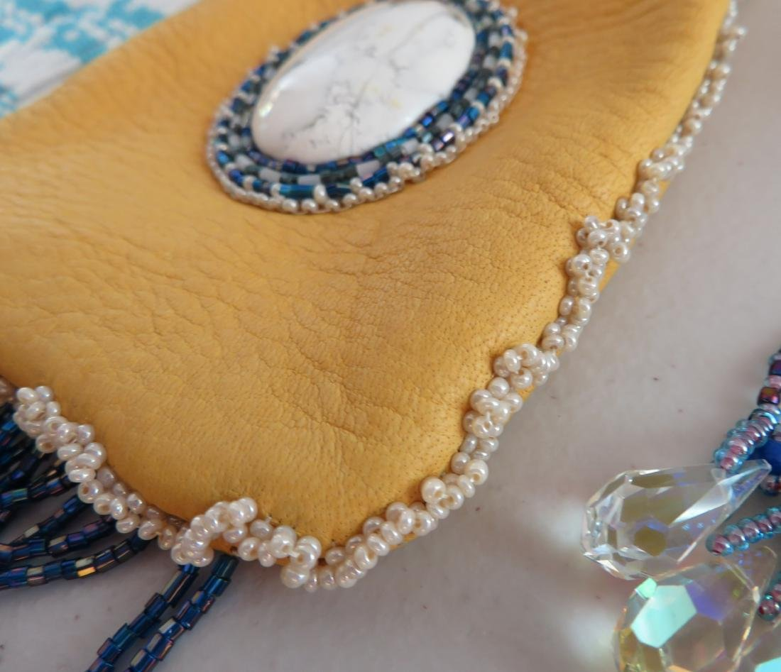 Beaded Leather Bag w/2 Hair Brooches - 9