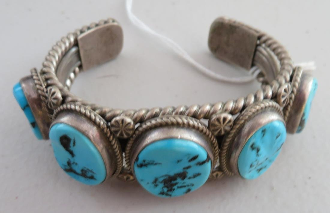 Navajo Sterling Silver & Turquoise Cuff - 10