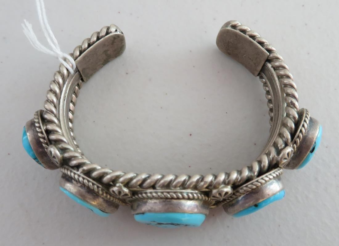 Navajo Sterling Silver & Turquoise Cuff - 2
