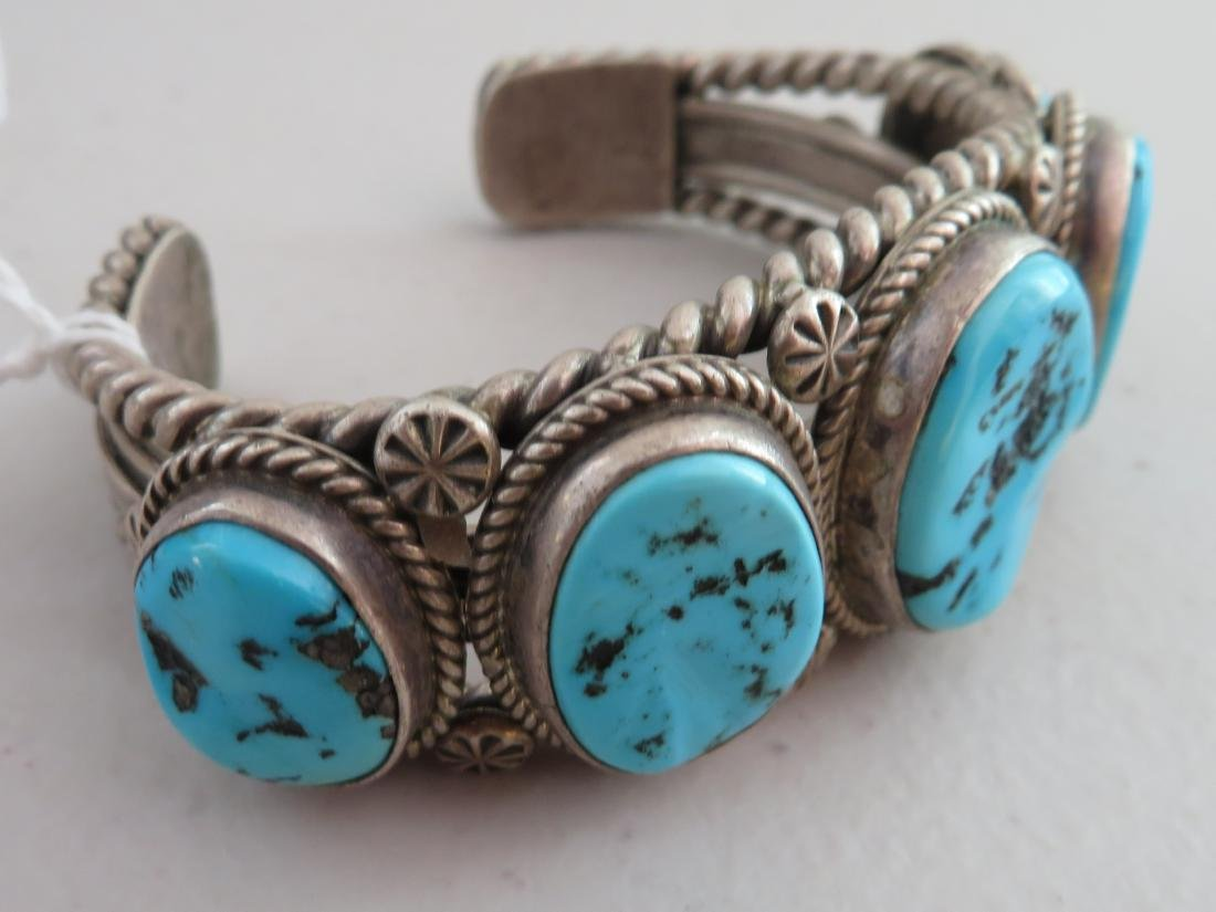 Navajo Sterling Silver & Turquoise Cuff - 3