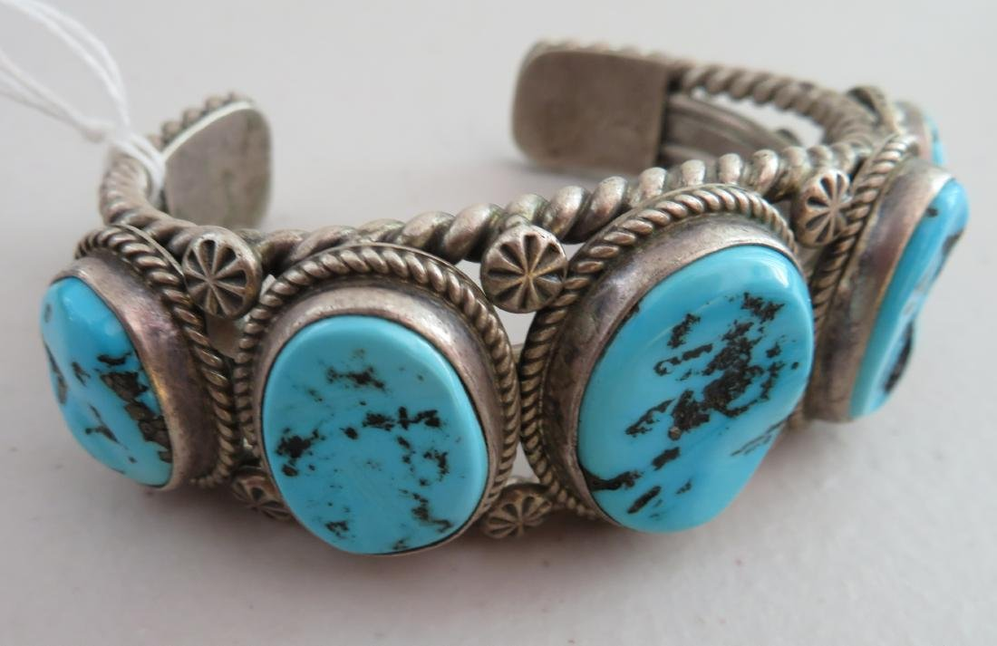 Navajo Sterling Silver & Turquoise Cuff - 4