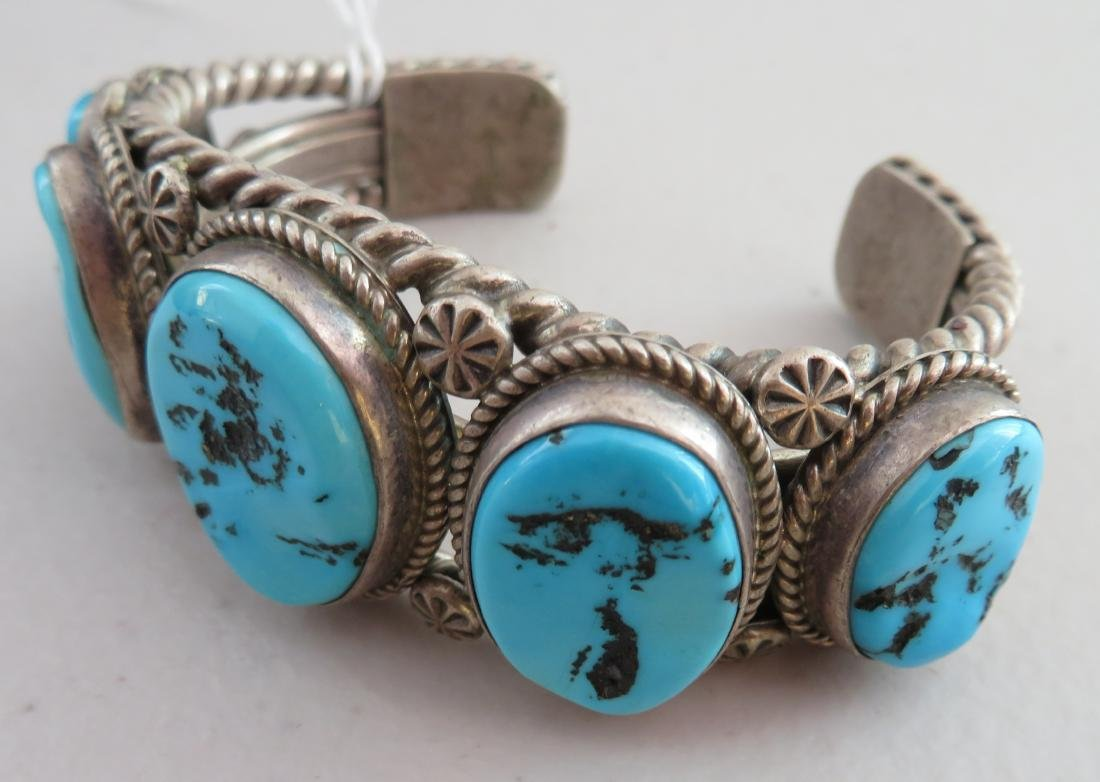 Navajo Sterling Silver & Turquoise Cuff - 5
