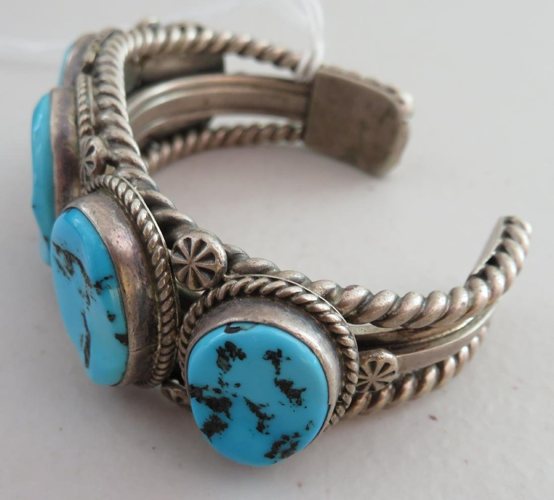 Navajo Sterling Silver & Turquoise Cuff - 6