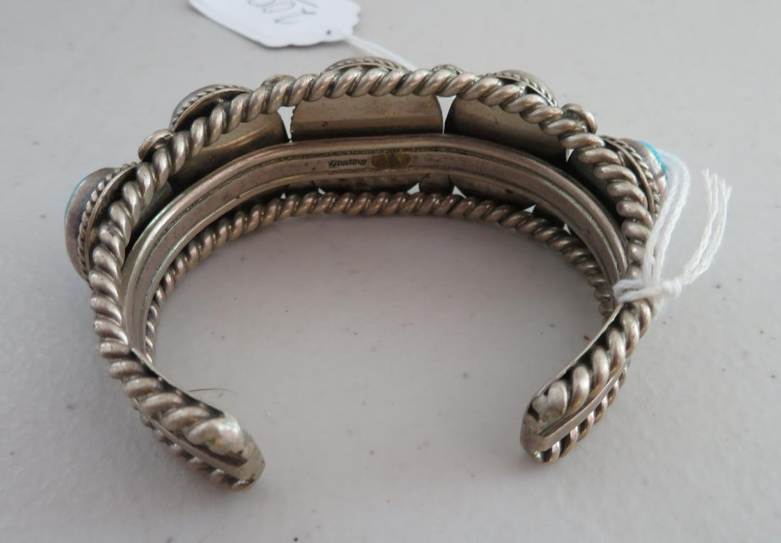 Navajo Sterling Silver & Turquoise Cuff - 7