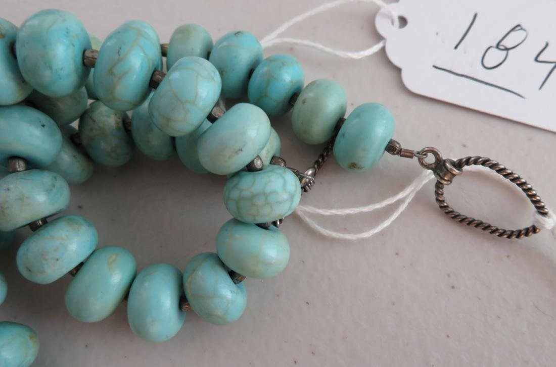 Turquoise Stone Bead Necklace - 10