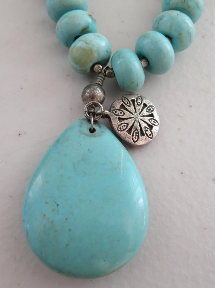 Turquoise Stone Bead Necklace - 2