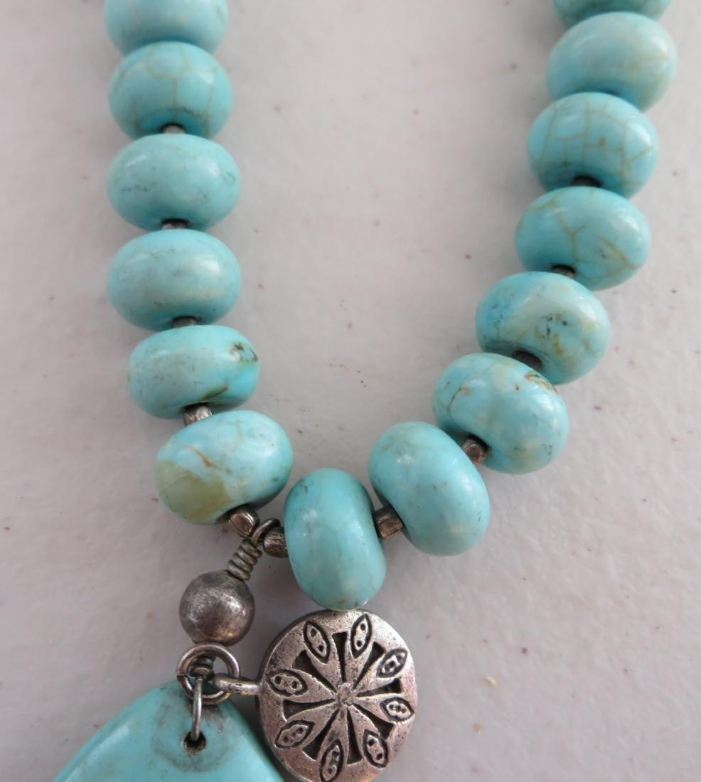 Turquoise Stone Bead Necklace - 3
