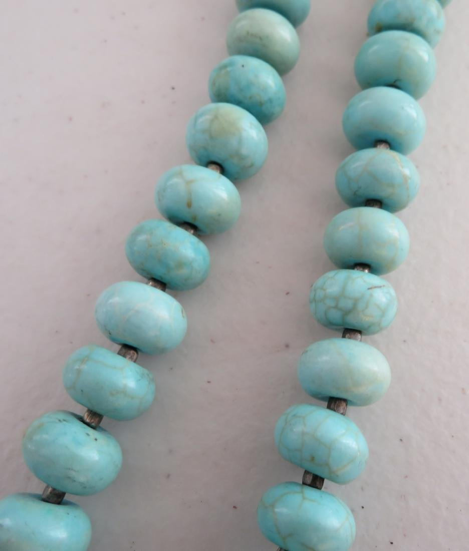 Turquoise Stone Bead Necklace - 4