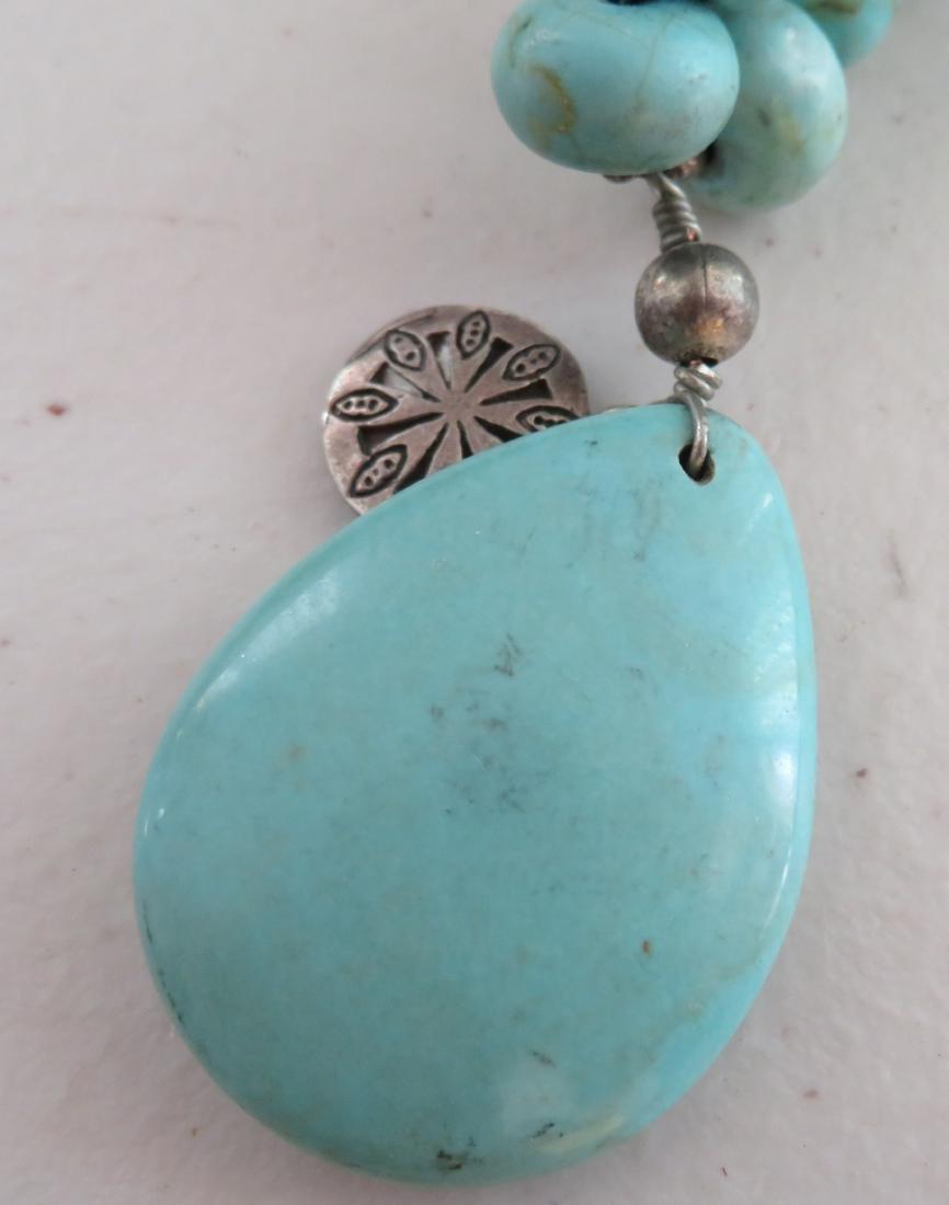 Turquoise Stone Bead Necklace - 7
