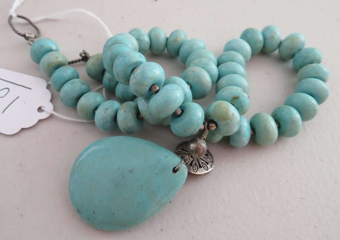 Turquoise Stone Bead Necklace - 8