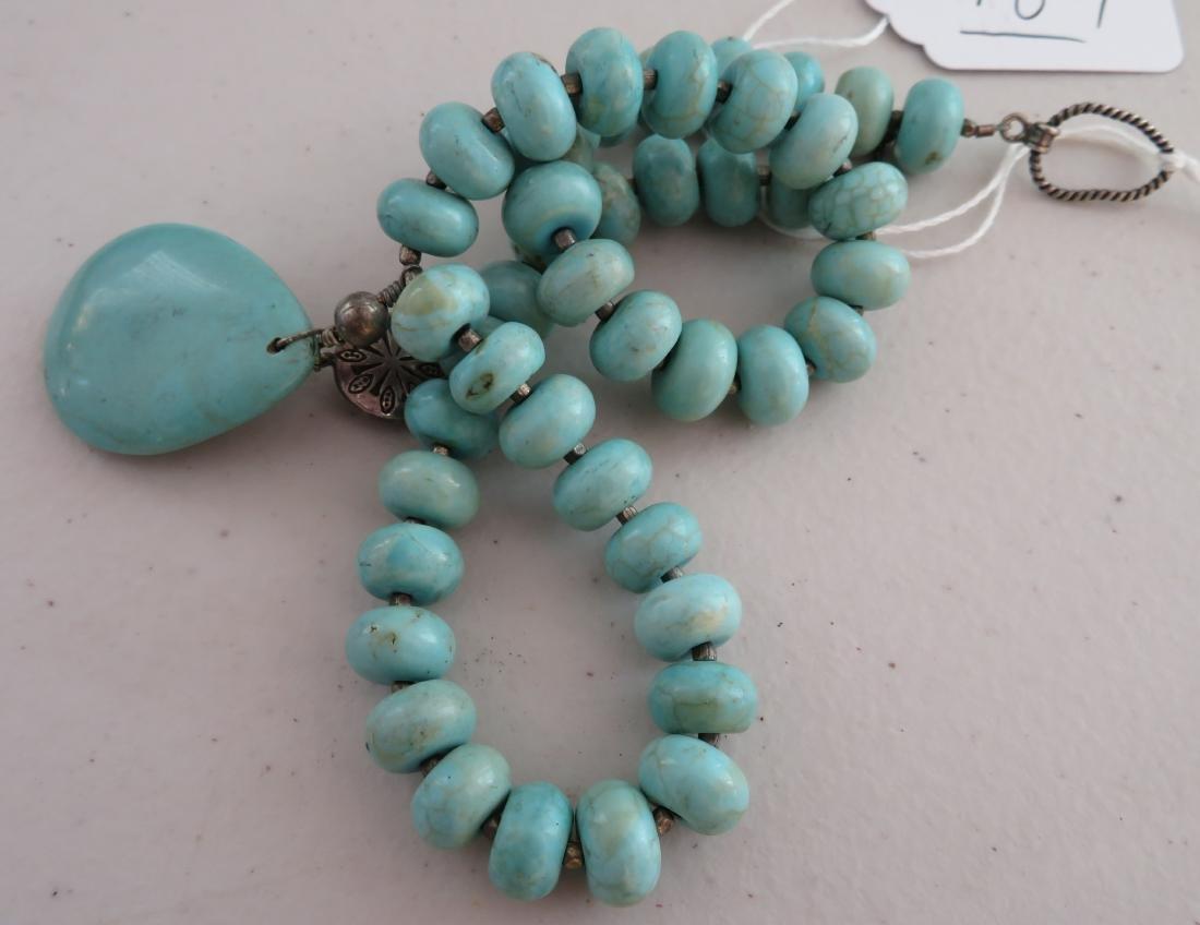 Turquoise Stone Bead Necklace - 9