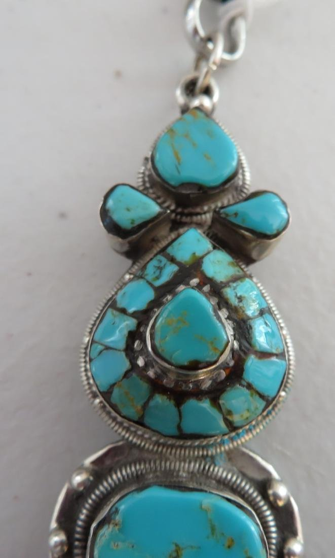 Sterling Silver & Turquoise Necklace - 4