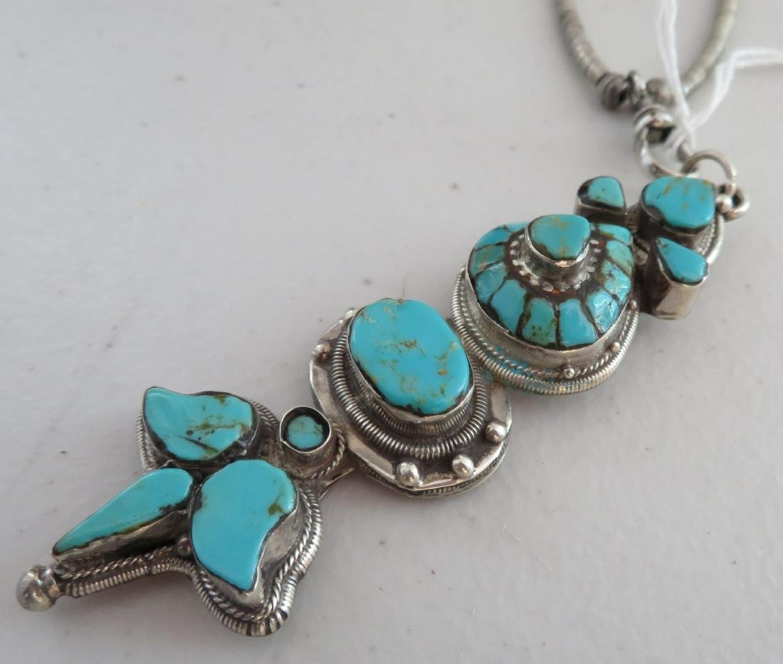 Sterling Silver & Turquoise Necklace - 6