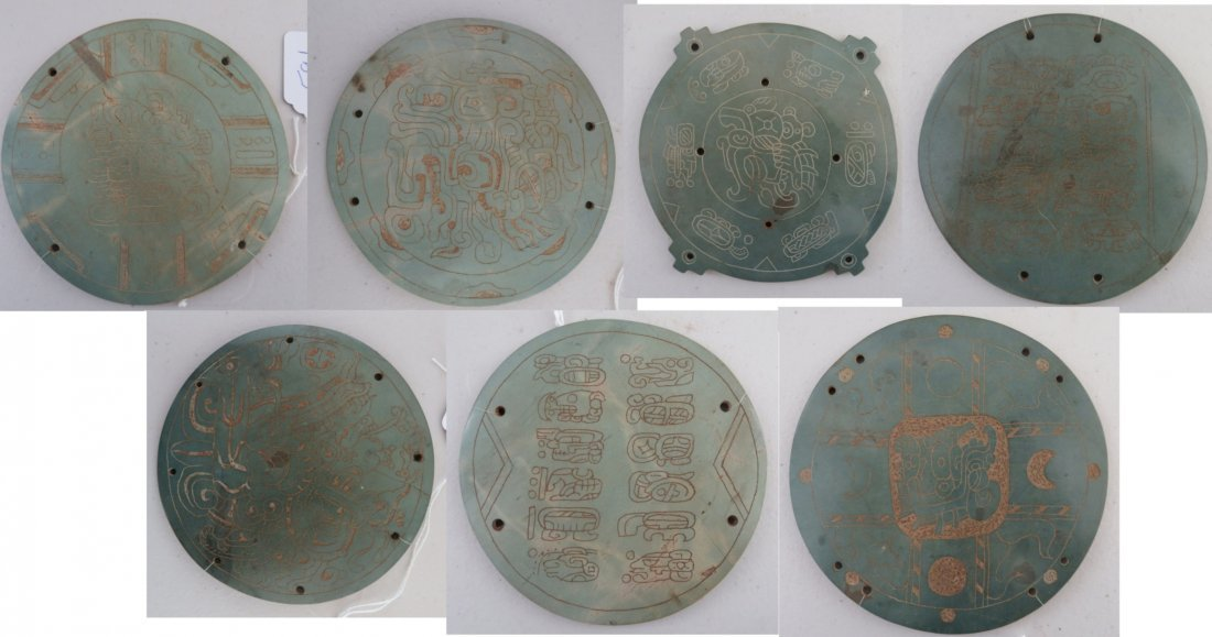 7 Mayan-style Engraved Plaques