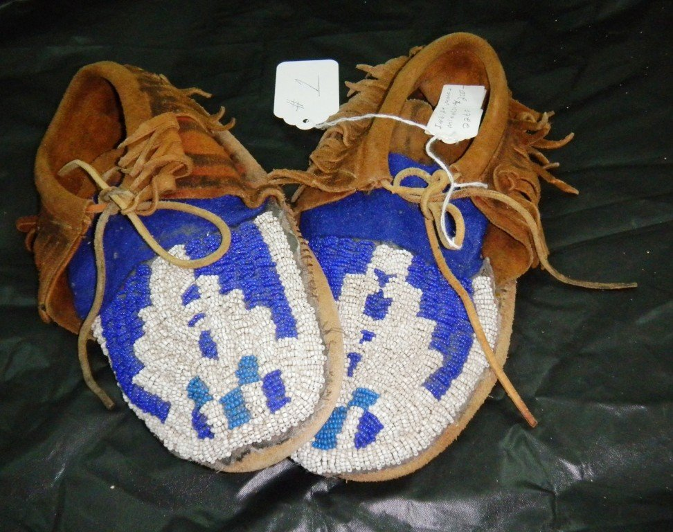 1: Beaded Moccasins with blue and white trade beads