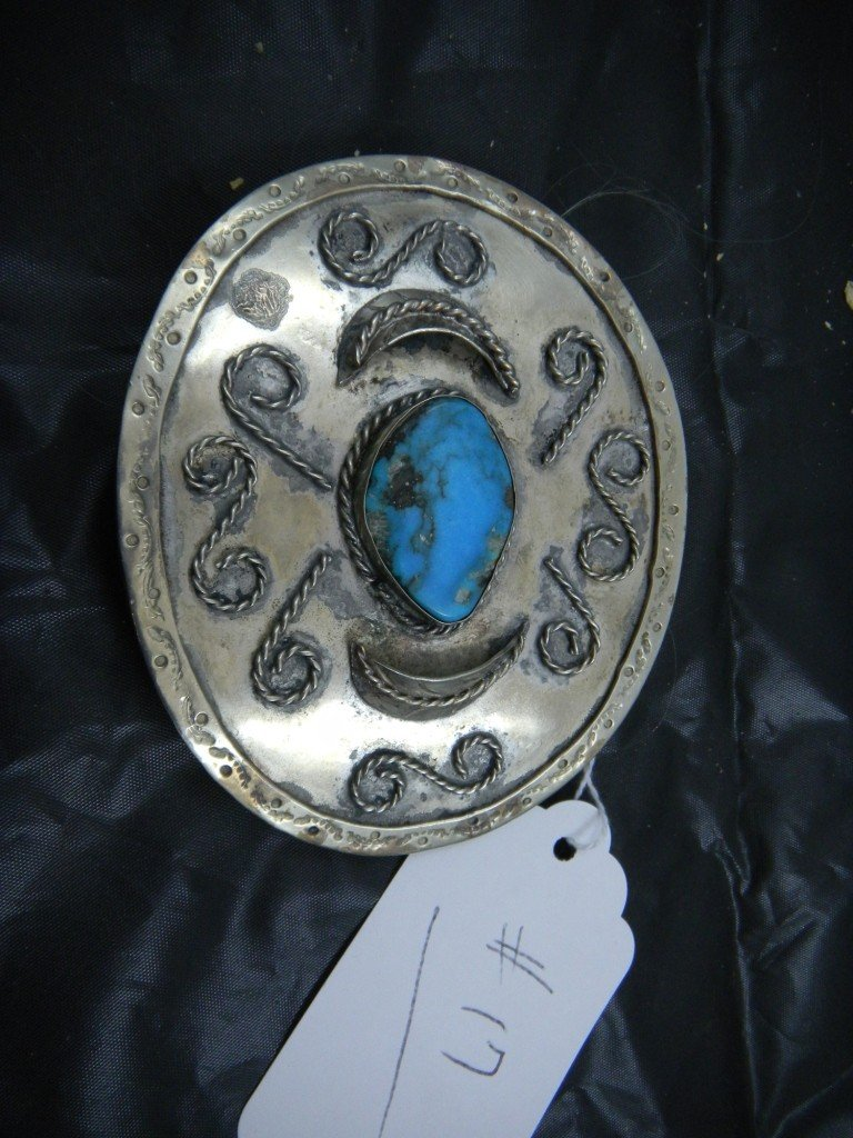 17: Nickel Silver Belt Buckle with Turquoise Stone