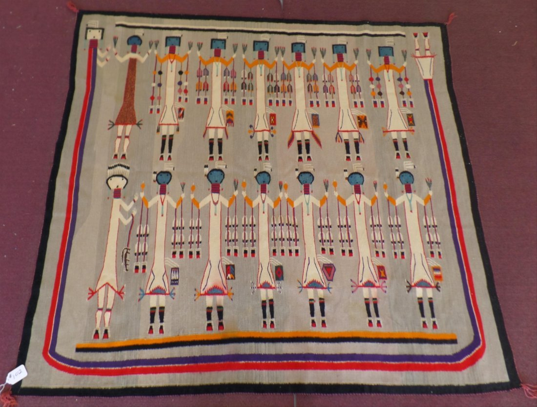Large Navajo Yei Tapestry Weaving