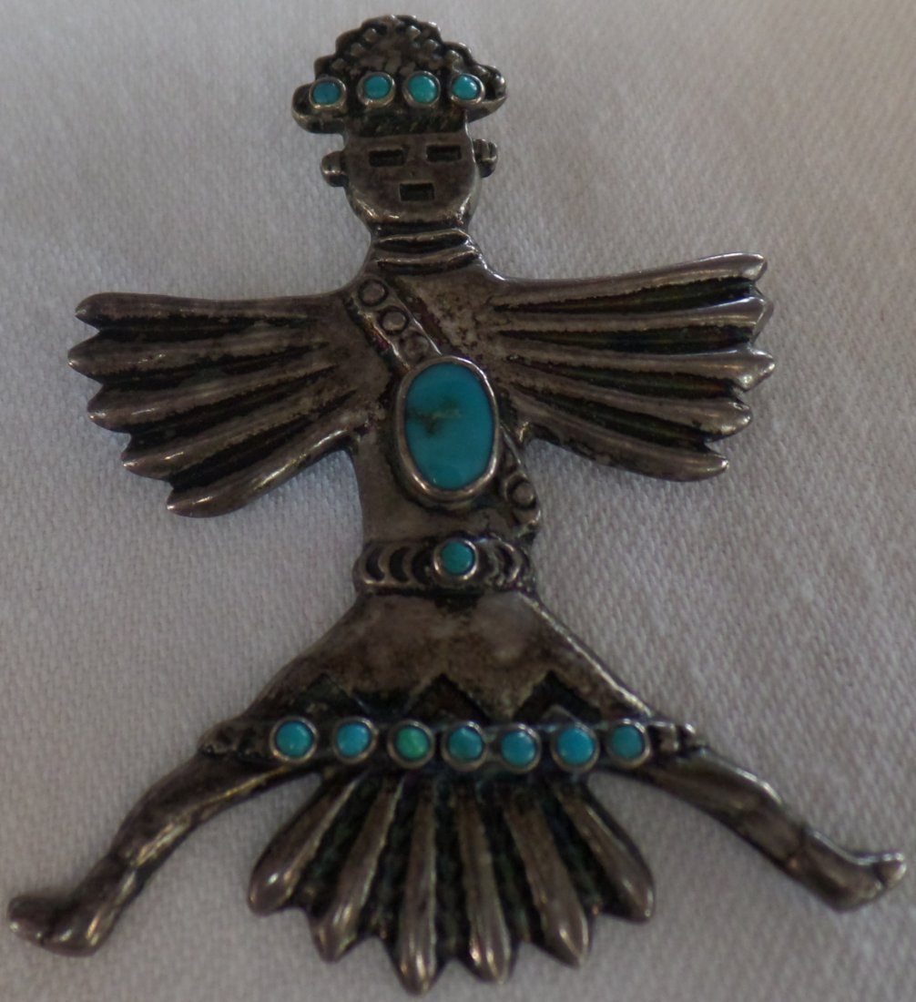 Hopi Sterling Silver & Turquoise Eagle Kachina Pin