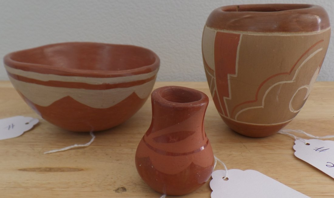 Three Santa Clara Pottery Vessels.