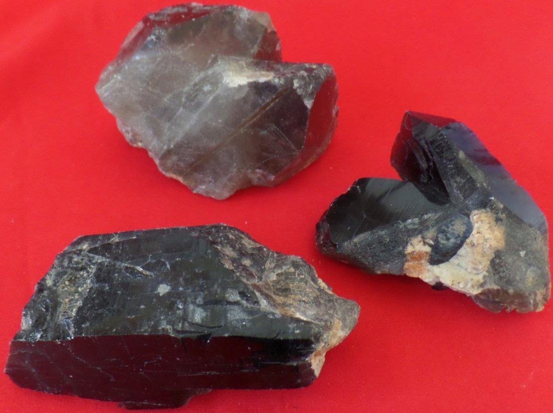 Three Smoky Quartz Crystals