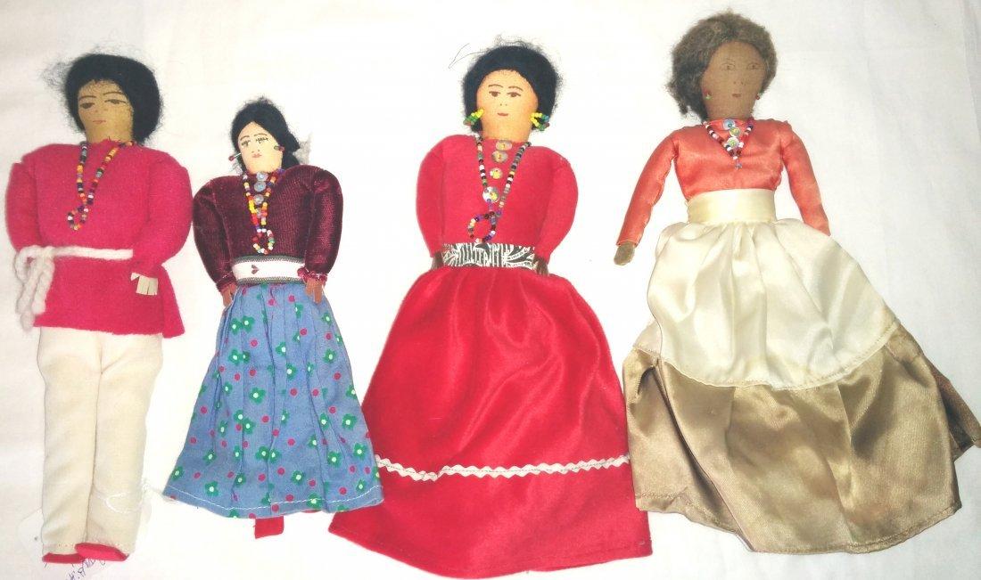 4 Navajo Indian Cloth Dolls