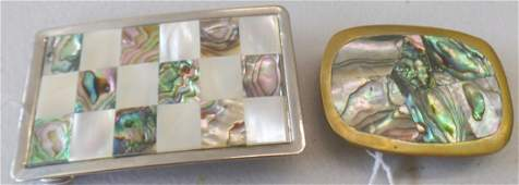 2 Abalone Inlaid Belt Buckles