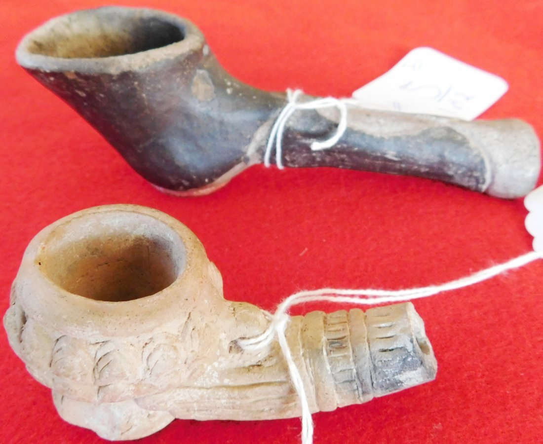 2 Old Native American Clay Pipes