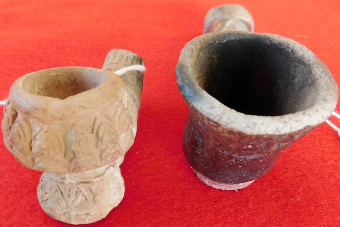 2 Old Native American Clay Pipes - 8