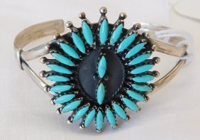 Zuni Sterling Silver And Turquoise Bracelet