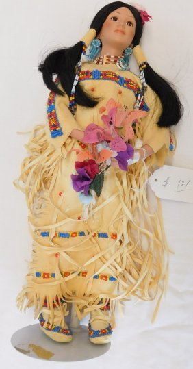 Sioux Plain Indian Doll On Stand